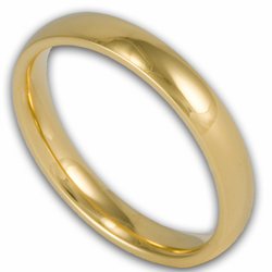 3MM Classic Domed Gold Plated Stainless Steel Wedding Ring