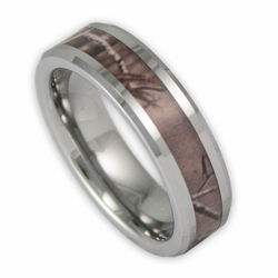 6MM Women's Tree Camo Tungsten Ring Camouflage Wedding Band