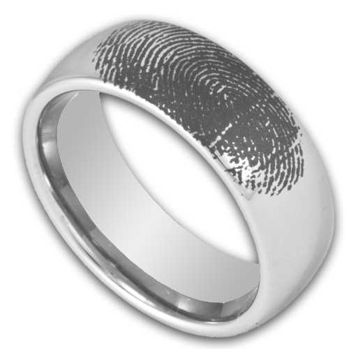 8MM Domed Tungsten Ring W Custom Engraved Fingerprint Mens Wedding Band By Ring Ninja