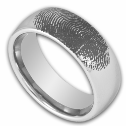 8MM Domed Tungsten Ring w/ Custom Engraved Fingerprint Mens Wedding Band