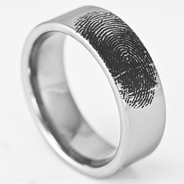 engagement pipe ninja by rings personalized ring fingerprint band cut tungsten