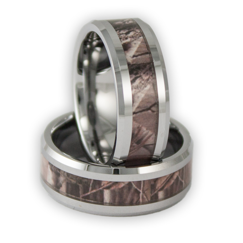 8MM Wide Mens Tree Camo Tungsten Ring Camouflage Wedding Band by