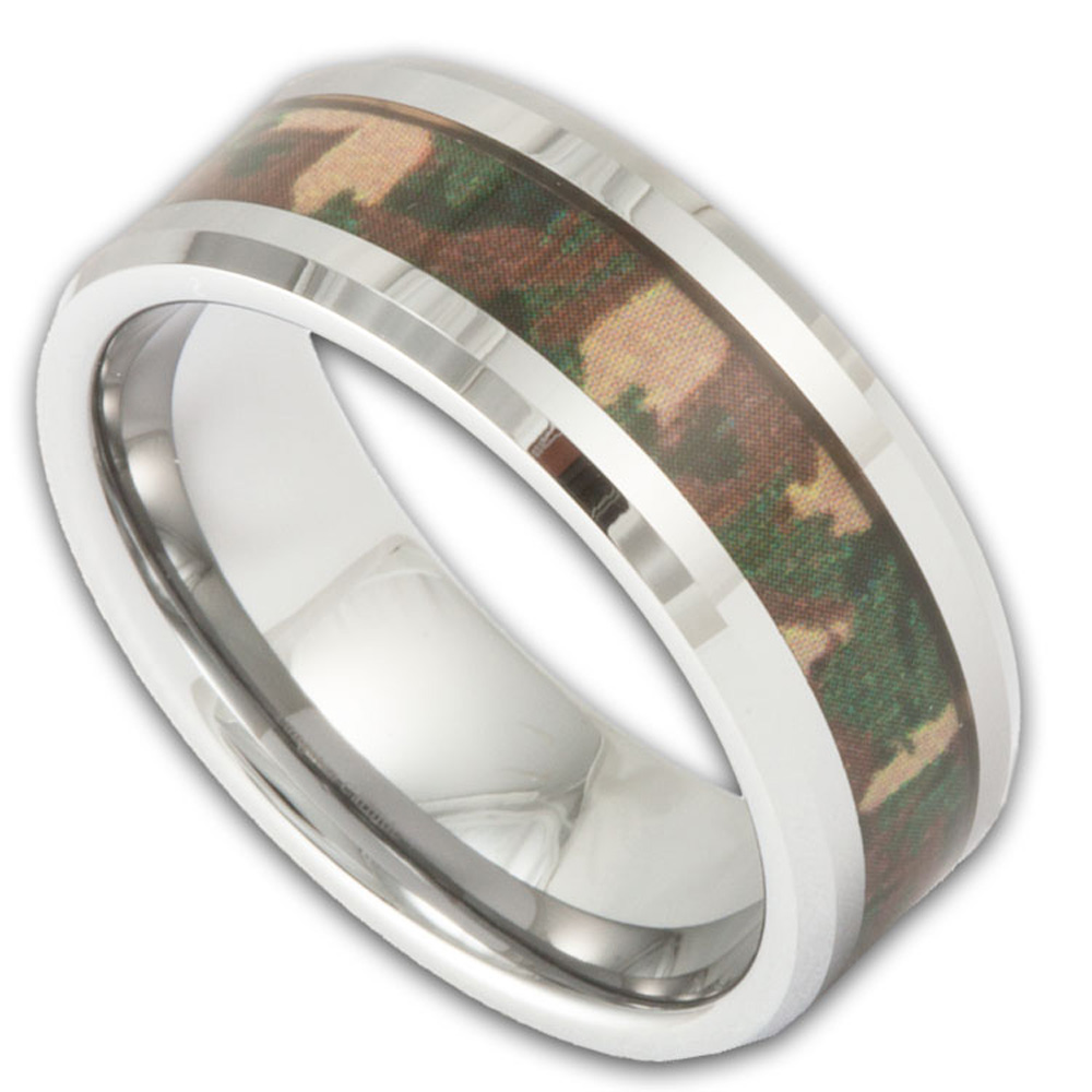 Tungsten Camo Wedding Rings Men39s Tungsten Woodland Camouflage Wedding Ring Shop