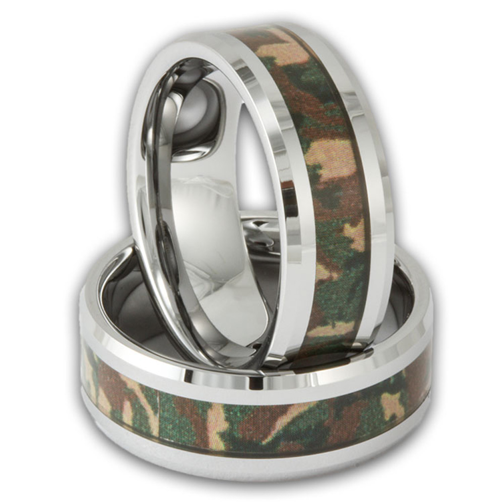 8mm woodland camo band mens tungsten camouflage wedding ring - Mens Camo Wedding Rings