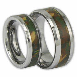 His and Her Woodland Camo Tungsten Ring Set Couples Camouflage Wedding Bands