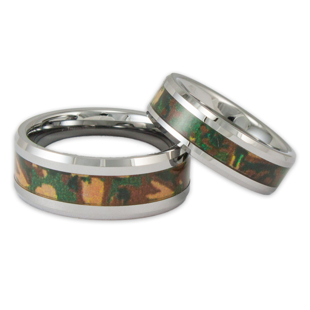 His and Her Woodland Camo Tungsten Ring Set Couples Camouflage