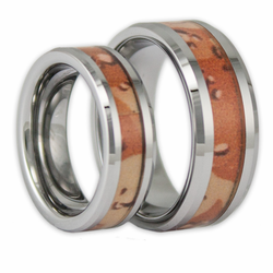 His and Hers Desert Camo Tungsten Ring Set Camouflage Wedding Bands