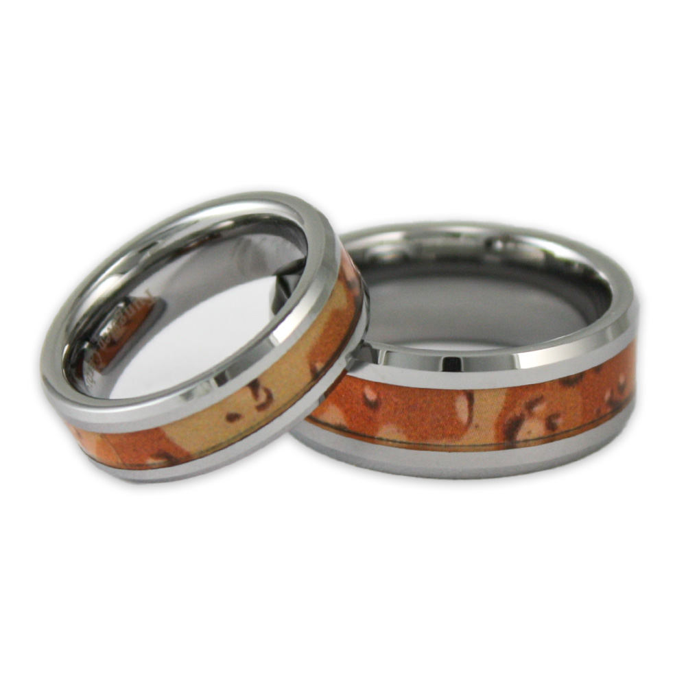 his and hers desert camo tungsten ring set camouflage wedding bands - Camo Wedding Ring Set