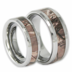His and Hers Tree Camo Tungsten Ring Set Camouflage Couples Bands