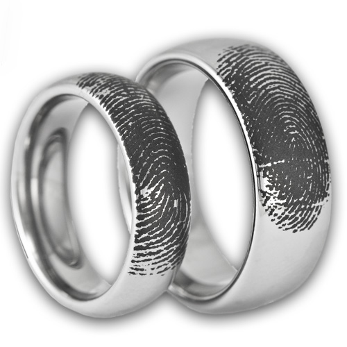His and Her Matching Bands Tungsten Fingerprint Rings by Ring Ninja