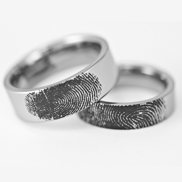 Matching Men S And Women S Tungsten Fingerprint Rings Pipe Cut Style