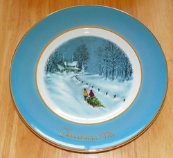 Avon 1976 Christmas Plate Series Bringing Home The Tree 3rd Ed England