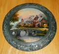 Collector Plate Thomas Kinkade Cobblestone Bridge 25th Anniv Master Pewter
