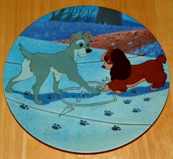 Disney Collector Plate Lady and the Tramp Puppy Love Out of Stock