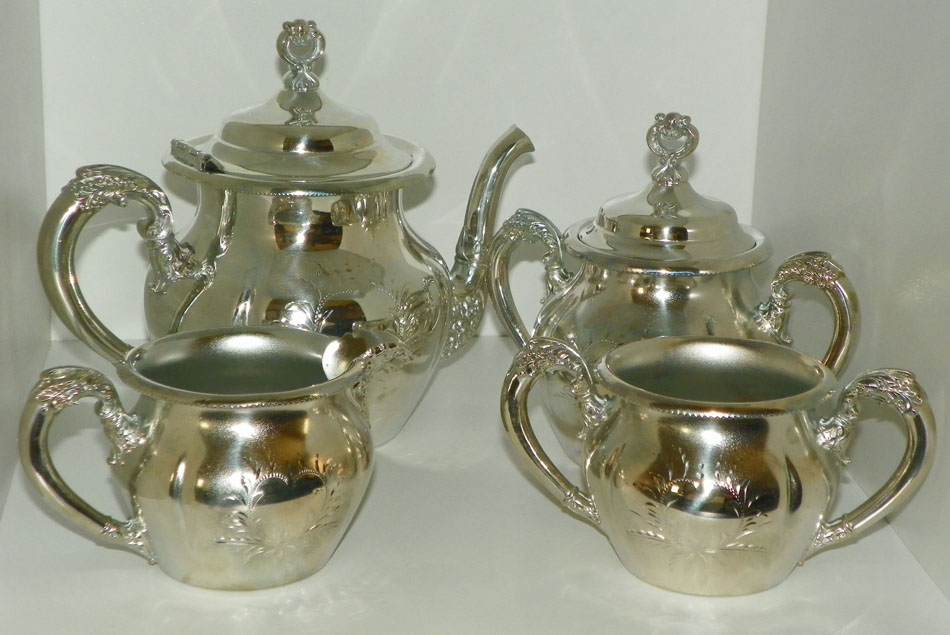 & Forbes Silver Co. Quadruple Silver Plated 5 Piece Tea Set Pattern # 182
