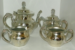 Forbes Silver Co. Quadruple Silver Plated 5 Piece Tea Set Pattern # 182