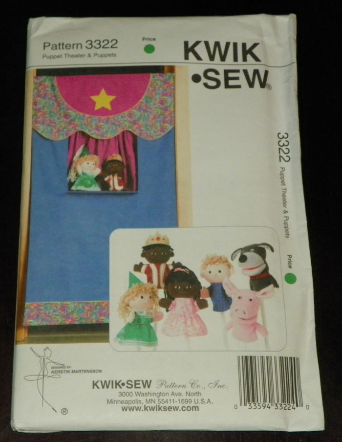 Kwik Sew New Uncut Pattern # 3322 Puppet Theater & Puppets Out of ...