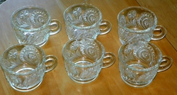L.E. Smith Pinwheel & Stars Set of 6 Cut Glass Punch Cups Estate Item
