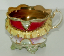 Lustreware Embossed Four Footed Ornate Teacup Heavy Gold Trim Estate Find