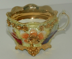 Antique German Lustreware Embossed 4 Footed Ornate Teacup Gold Trim Floral Design