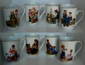 Norman Rockwell 1982 Set of 8 Porcelian Mugs Norman Rockwell Museum Seal