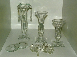 Set of 3 Glass Candle Sticks Candelabra With 4 Bobeches & 19 Tear Drop Prisms