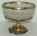Sheridan Silver Co Centerpiece Lead Crystal Bowl with Silverplated Base and Rim