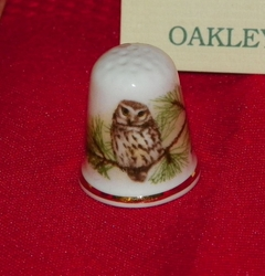 The Little Owl From Oakley China, Limited Porcelain England Thimble Collectors Club SOLD