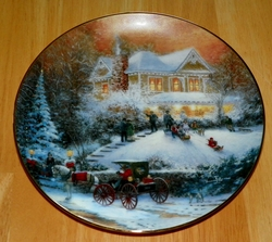 Thomas Kinkade Collector Plate An Old Fashioned Christmas Titled All Friends Are Welcome Out of Stock