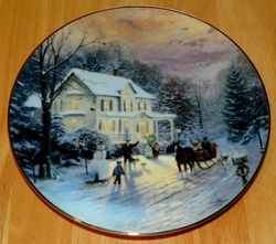 Thomas Kinkade Collector Plate Home for the Holidays Titled Sleighride Home SOLD