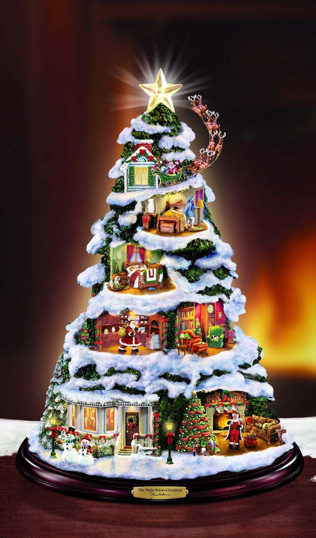thomas kinkade night before christmas tabletop tree sold - Night Before Christmas Decorations