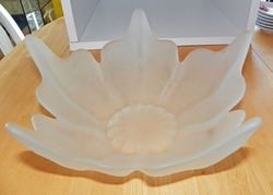 Viking Frosted Glass Five Petal Centerpiece Bowl 10 inches
