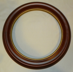 Walnut Finish Wood Plate Frame 7 1/2 to 8 1/4 inch Plates With Gold Out of Stock