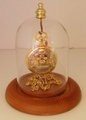 Watch or Small Ornament Dome With Top Hook Oak Base 3 X 4 1/4