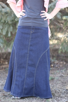 Eddie Bauer Size 4 Tall Skirt Modest Straight Long Blue ... |Western Long Denim Skirts Modest
