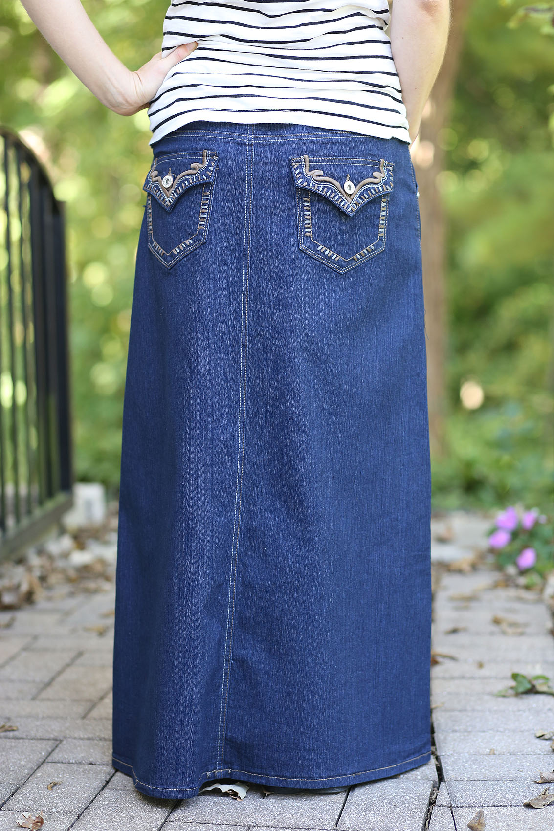 Cato Women's Long Denim Jean Skirt Size 8 Front Pockets ... |Western Long Denim Skirts Modest