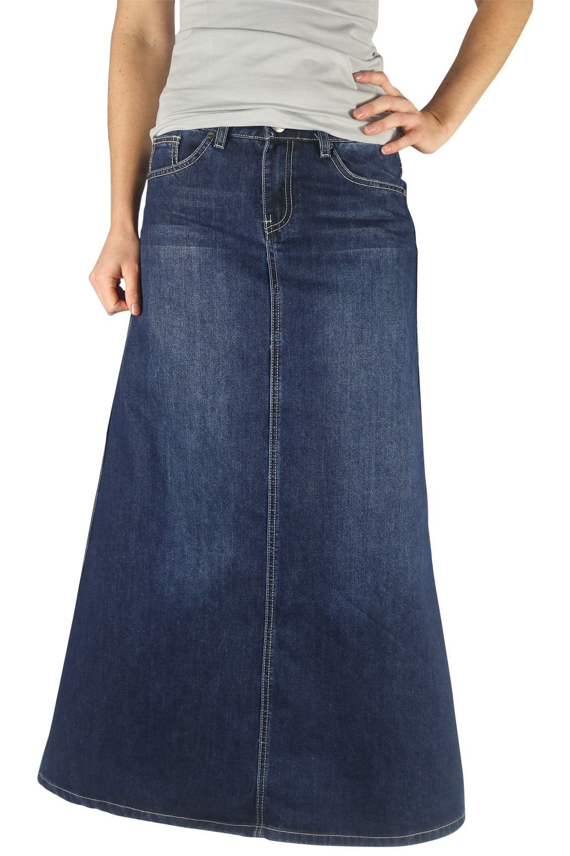 Tiered Denim Modest Skirt | Long Skirt Sizes 8-18 |Western Long Denim Skirts Modest