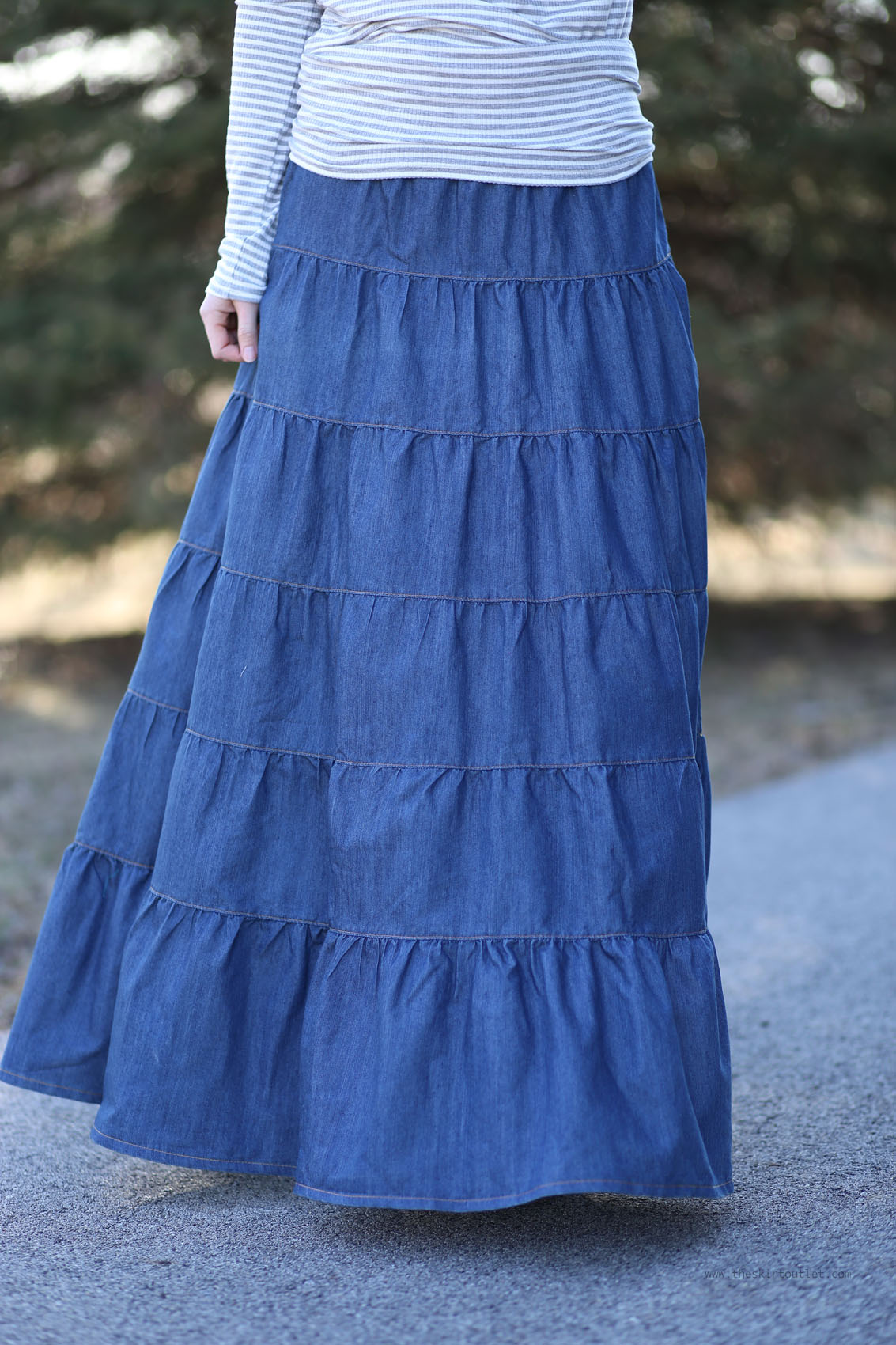 'Deep Beauty' Dark Denim Modest Skirt | Long Jean Skirt ... |Western Long Denim Skirts Modest