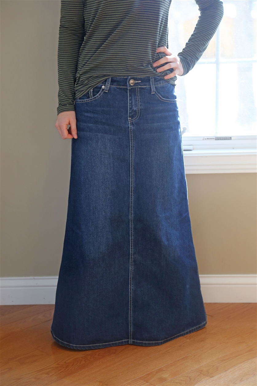 Long denim skirt with feminine pink top. | Long denim ... |Western Long Denim Skirts Modest