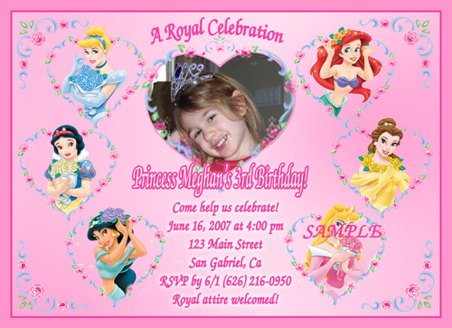 Personalized disney princess birthday invitations – Personalized Disney Birthday Invitations