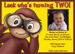 Custom photo birthday invitations curious george monkey see