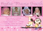Minnie Mouse 1st Birthday Photo Invitation Disney Baby #4