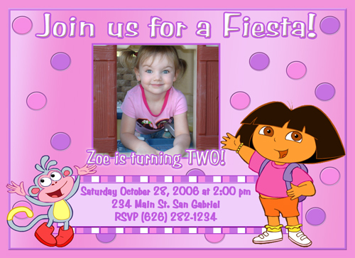 Photo Dora the Explorer Photo Birthday Party Invitations <br>Go Diego Go<br>Hello Kitty Pink Poodle in Paris<br>Tangled Rapunzel