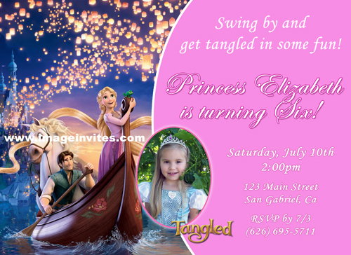 Custom Tangled Rapunzel Disney Photo Birthday Party Invitations – Disney Photo Birthday Invitations