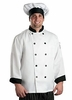 Men's White w/ Black Contrast Chef Coat