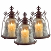 Set of 3 Fleur-de-Lis Candle Lanterns