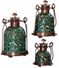 Set of 3 Pierced Teal Copper Lanterns