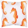 "Orange Seahorse 18"" Throw Pillow"