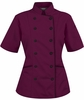 Tailored Chef Coat - Wine  w/Black