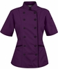 Tailored Chef Coat - Eggplant w/Black